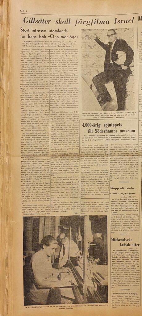 Sven tittar på när Svea sitter vid vävstolen, Hudiksvalls Tidning 27 oktober 1959.